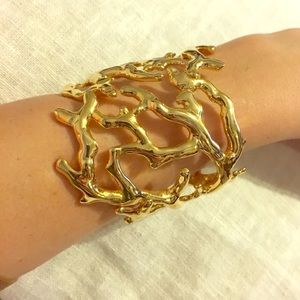 Kenneth Jay Lane Sculpted Branch Cuff- 22 karat